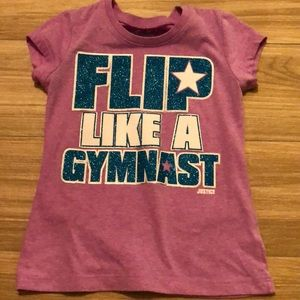 Justice girls gymnastic t shirt with bling size 6